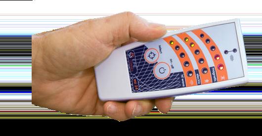 Elektrosmogmessgerät in einer Hand