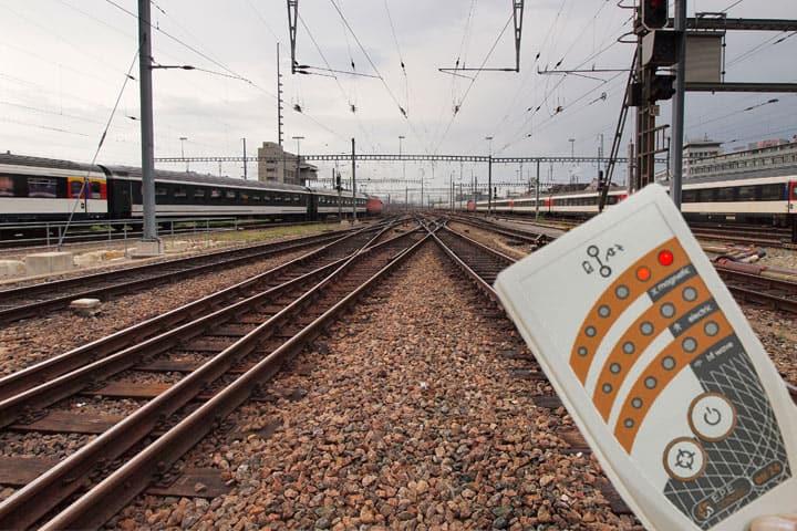 Elektrosmog-Messung am Bahngeleise